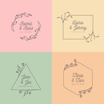 Concetto minimalista per monogrammi di nozze
