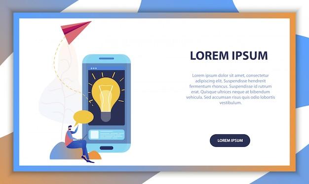 Concetto mobile app di idea creativa startup di affari