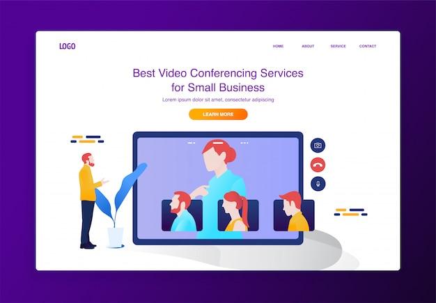 Concetto mobile dell'illustrazione di videoconferenza per il sito web o la pagina di atterraggio