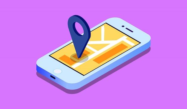 Concetto mobile isometrico di navigazione di gps 3d, smartphone con l'applicazione della mappa della città e puntatore del perno dell'indicatore