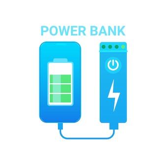 Concetto mobile portatile del dispositivo della batteria dell'icona della banca di potere