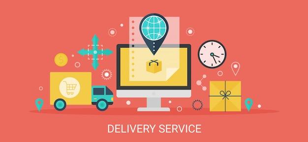 Concetto moderno banner di servizio di consegna con icone e testo.