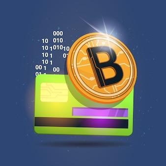 Concetto moderno dei soldi di web di valuta crypto di digital dell'icona della carta di credito sopra bitcoin