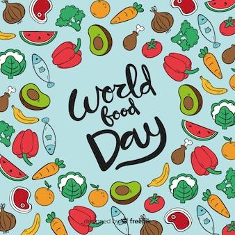Concetto moderno del fondo di giorno dell'alimento del mondo