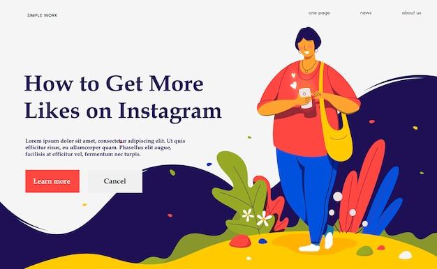 Concetto moderno dell'illustrazione del sito web. smartphone della holding della donna.
