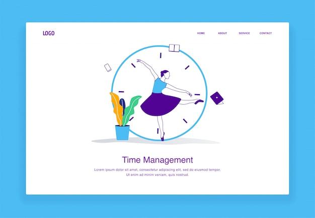 Concetto moderno dell'illustrazione della gestione di tempo delle donne a funzioni multiple che inseguono le scadenze con il concetto della ballerina per il modello della pagina di atterraggio