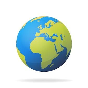 Concetto moderno della mappa di mondo 3d isolato su fondo bianco. pianeta mondo, illustrazione della sfera di terra