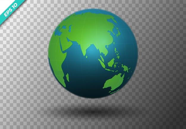 Concetto moderno della mappa di mondo 3d isolato su trasparente