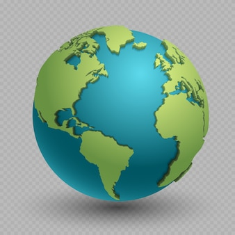 Concetto moderno della mappa di mondo 3d isolato