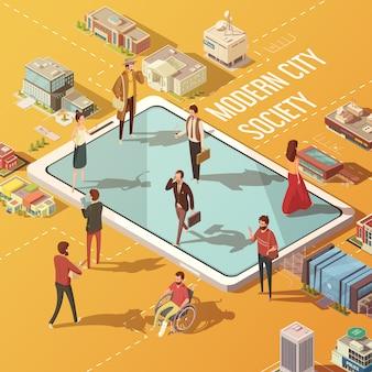 Concetto moderno della società di città con la gente che comunica tramite l'illustrazione isometrica di vettore di internet