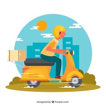 Concetto moderno di consegna scooter