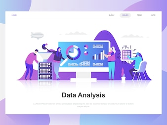 Concetto moderno di design piatto di analisi dei dati.