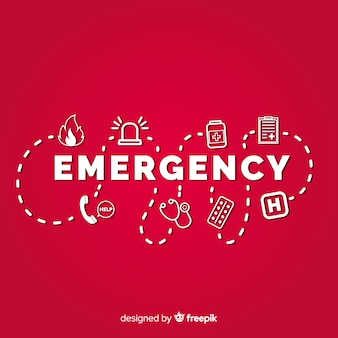 Concetto moderno di parola di emergenza con design piatto