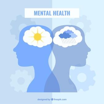 Concetto moderno di salute mentale con design piatto