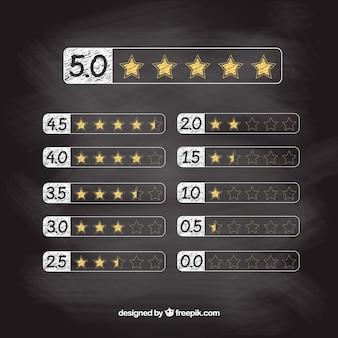 Concetto moderno di valutazione della stella della lavagna