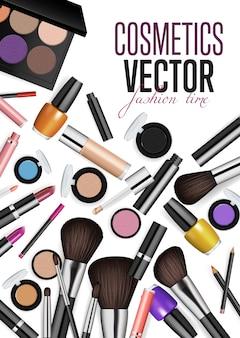 Concetto moderno di vettore degli accessori dei cosmetici