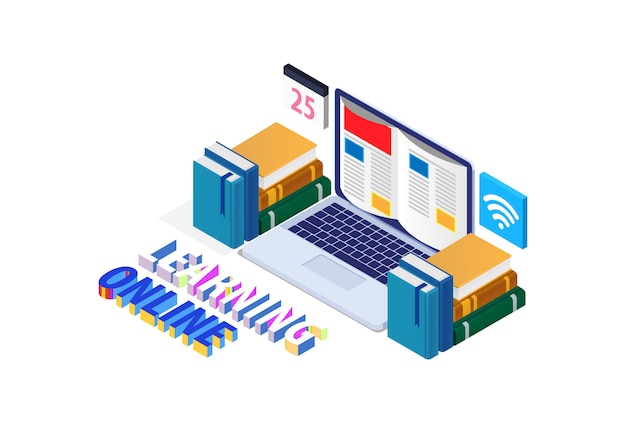 Concetto moderno isometrico di istruzione online con il computer portatile