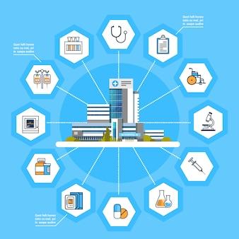 Concetto moderno online della medicina delle icone di trattamento medico dell'interfaccia di applicazione dell'ospedale
