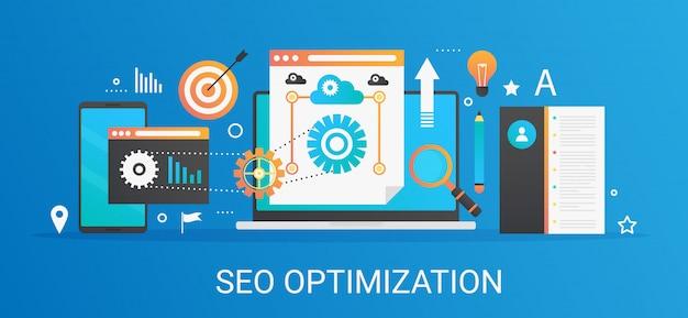 Concetto moderno seo ottimizzazione e analitica banner con icone e testo.