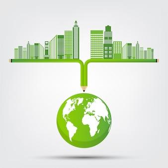 Concetto mondo ambiente e simbolo della terra con foglie verdi intorno alle città