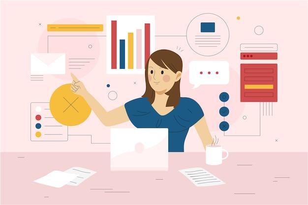 Concetto multitasking della giovane donna