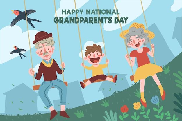 Concetto nazionale disegnato a mano di giorno dei nonni