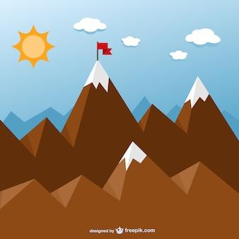 Concetto obiettivo con le montagne