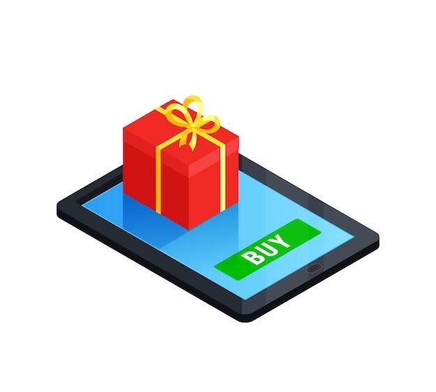 Concetto online del contenitore di regalo