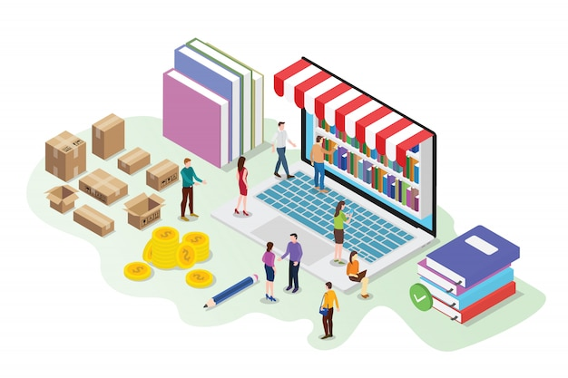 Concetto online del deposito di libro isometrico 3d con la biblioteca digitale