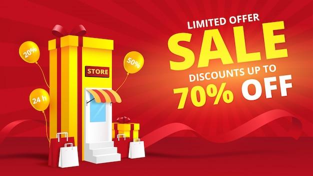 Concetto online del negozio di acquisto con il contenitore di regalo fondo digitale dell'insegna di vendita e di vendita.