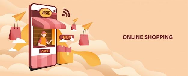 Concetto online dell'illustrazione del negozio del telefono cellulare con il sacchetto della spesa e il custode del negozio