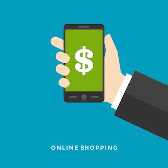 Concetto online dell'illustrazione di affari di vettore di progettazione piana attività bancarie online