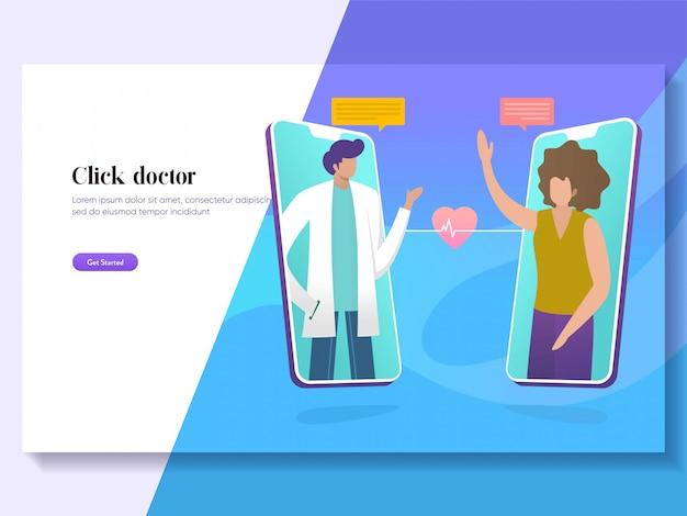 Concetto online dell'illustrazione di sanità di vettore di medico, consultazione paziente al medico tramite smartphone