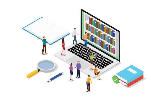 Concetto online della lettura isometrica 3d con i libri o la raccolta dei libri elettronici