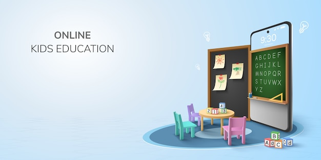 Concetto online della scuola di backto di asilo di istruzione online dell'aula di digital. apprendimento sul telefono, sfondo del sito web mobile. arredamento di lavagna, bambini sedia da tavolo scrivania per studenti. illustrazione 3d.
