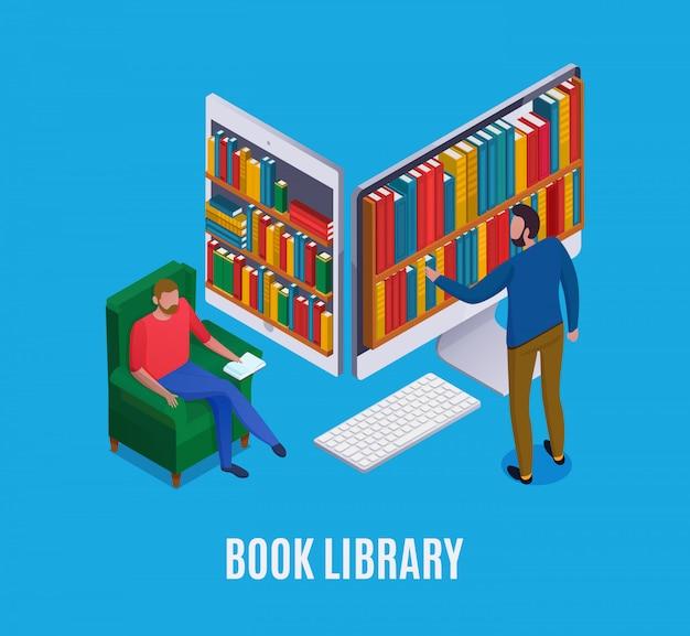 Concetto online delle biblioteche con il computer astratto e l'uomo che scelgono i libri su 3d blu isometrico