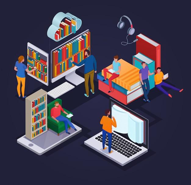 Concetto online delle biblioteche con la lettura degli apparecchi elettronici della gente e degli scaffali di libro 3d isometrici