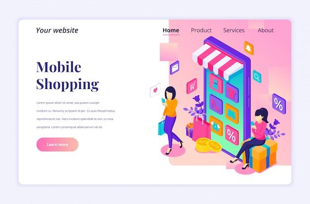 Concetto online di acquisto online, giovani donne che acquistano i prodotti nel modello isometrico della pagina di destinazione dell'applicazione mobile