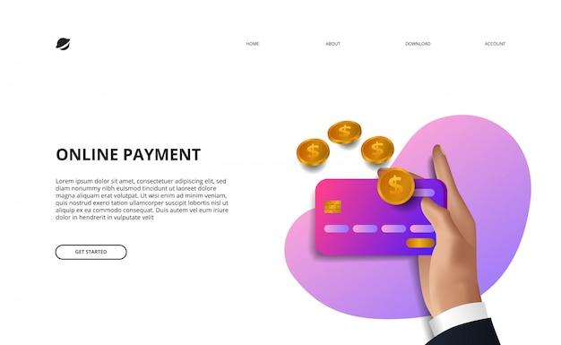 Concetto online di commercio elettronico di finanza di affari dell'illustrazione della pagina di atterraggio di pagamento