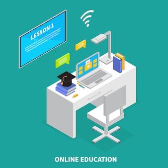 Concetto online di istruzione con l'illustrazione isometrica di simboli degli esami e delle lezioni