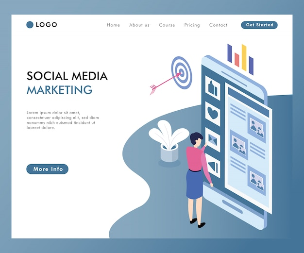 Concetto online di marketing di media sociali isometrico