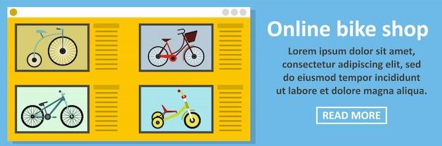 Concetto online di orizzontale dell'insegna del negozio della bici