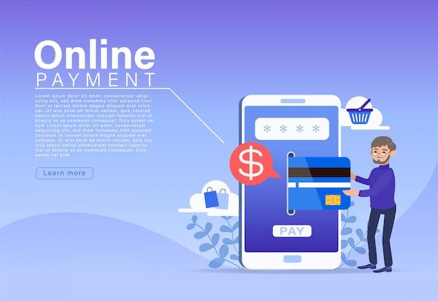 Concetto online di pagamento, carattere della gente che effettua pagamento con carta di credito sullo smartphone.