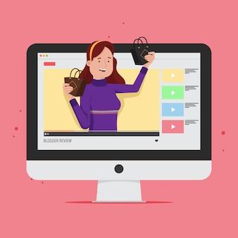 Concetto online di recensione di blogger