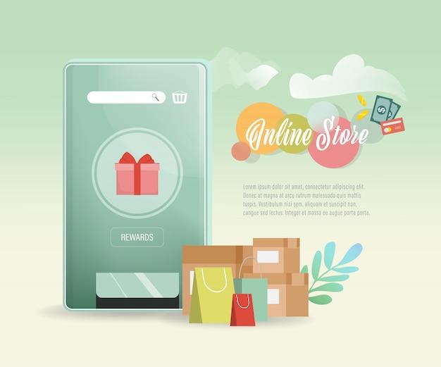Concetto online di shopping mobile applicazione di siti web di e-commerce.
