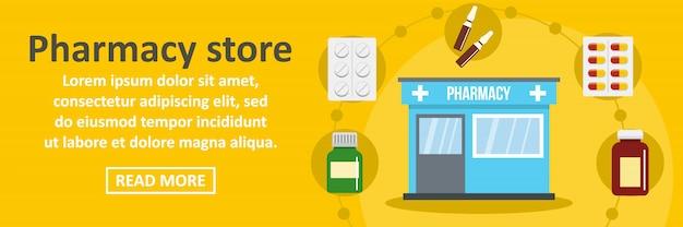 Concetto orizzontale del modello dell'insegna del deposito della farmacia