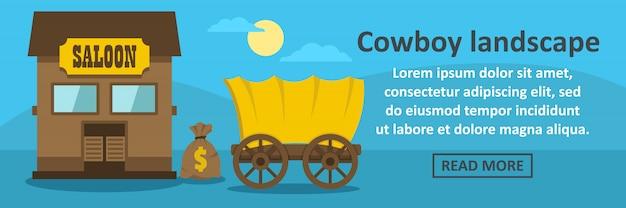 Concetto orizzontale del modello dell'insegna del paesaggio del cowboy