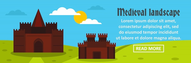 Concetto orizzontale del modello dell'insegna del paesaggio medievale del castello