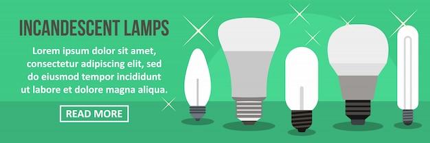 Concetto orizzontale del modello dell'insegna delle lampade incandescenti