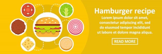 Concetto orizzontale del modello dell'insegna di ricetta dell'hamburger